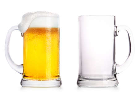 Frosty glass of light beer and empty glass isolated on a white background 스톡 콘텐츠