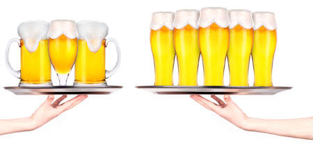 waitresses: Waitresses holding tray with light beer isoalted on white background