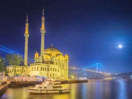 istanbul night: Ortakoy mosque and Bosphorus Bridge Istanbul, Turkey
