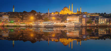 Istanbul skyline from Galata bridge by night, with Suleymaniye mosque and fish boat ferry