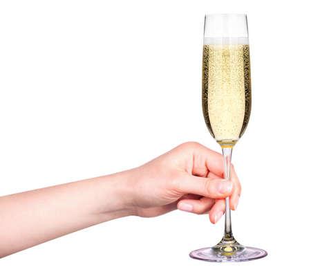 sektglas: Hand mit einem Glas Champagner auf einem weißen Hintergrund