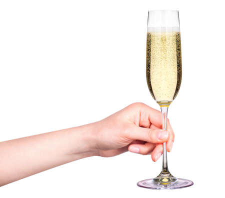 champagne glass: Hand with glass of champagne isolated on a white background Stock Photo