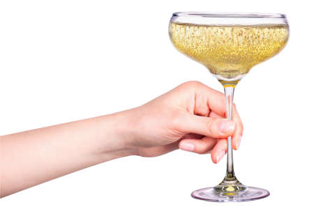 champagne flutes: Hand with glass of champagne isolated on a white background Stock Photo