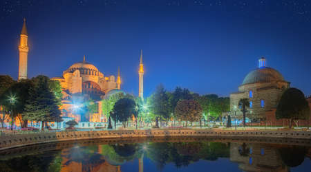 constantinople ancient: Hagia Sophia in Istanbul, Turkey early at the night. Stock Photo