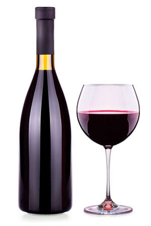 full red: Elegant red wine glass and bottle isolated background Stock Photo