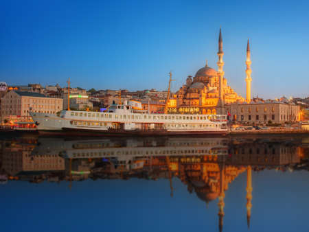 istanbul: Panorama of Istanbul at a dramatic sunset from Galata Bridge, Istanbul, Turkey Stock Photo