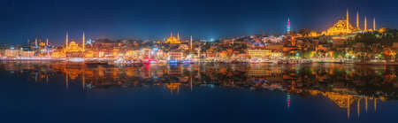Panorama os Istanbul and Bosporus at night, Turkey 版權商用圖片 - 46099770