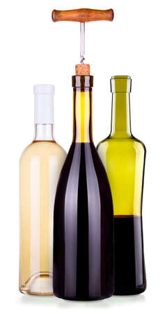 muscadet: Set from red and white bottles of wine isolated background