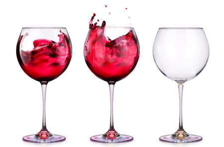 party wine: Set from glasses with wine isolated on a white background