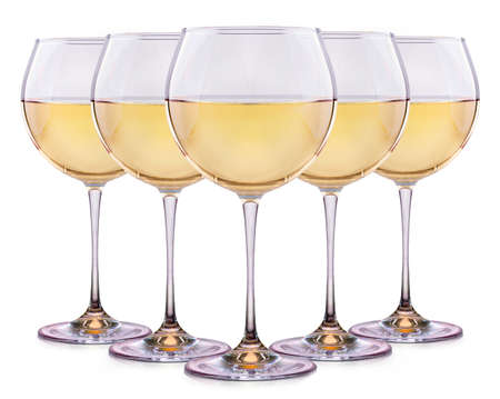 muscadet: Set from glasses with wine isolated on a white background