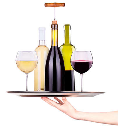 muscadet: Waitress holding tray with set from red and white wine glasses, bottles isolated background
