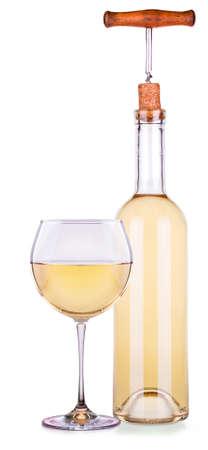 muscadet: Elegant white wine glass and bottle isolated background Stock Photo