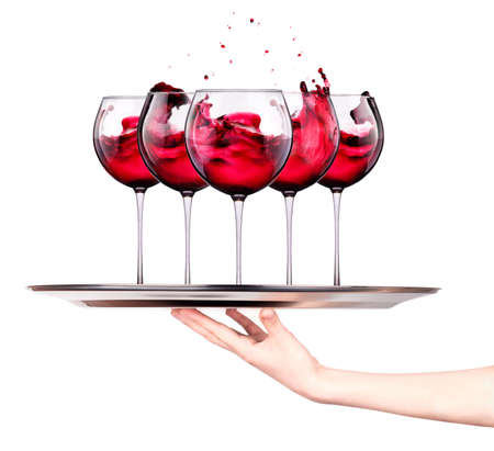 muscadet: Waitress holding tray with wine glasses isolated on a white background