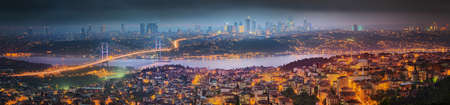 istanbul night: View of Bosphorus bridge at night Istanbul, Turkey