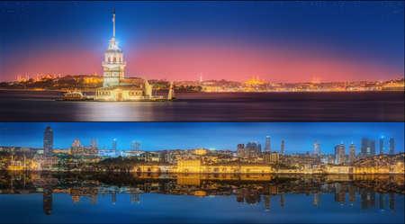 turkey: Hermosa vista del B�sforo y el paisaje urbano noche Estambul, Turqu�a