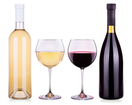 muscadet: Set from red and white wine glasses and bottles isolated background