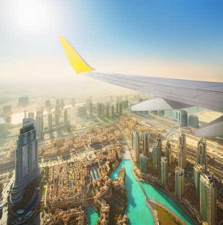 aeroplanes: Cityscape of Dubai from aeroplane window, bird view, UAE Stock Photo