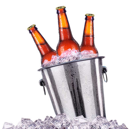 beer bucket: Beer bottles in ice bucket isolated on white background Stock Photo