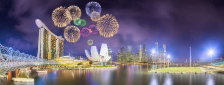 pyrotechnics: Beautiful fireworks in Marina Bay and view of skyscrapers on Singapore