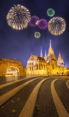schulek: Beautiful fireworks under Fishermens bastion at night in Budapest, Hungary
