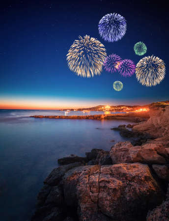holiday house: Beautiful fireworks under Ibiza island night view in San Antonio Stock Photo