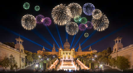 Beautiful fireworks under Magic Fountain light show in Barcelona, Spain
