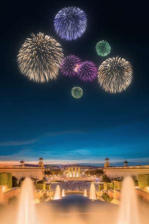 fiesta popular: Beautiful fireworks under Magic Fountain light show in Barcelona, Spain