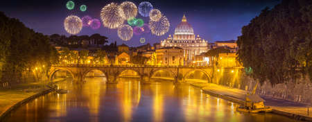 holy angel: View of bridge of the Holy Angels, Ponte SantAngelo and Vatican view from Umberto Bridge after sunset, Rome, Italy Stock Photo