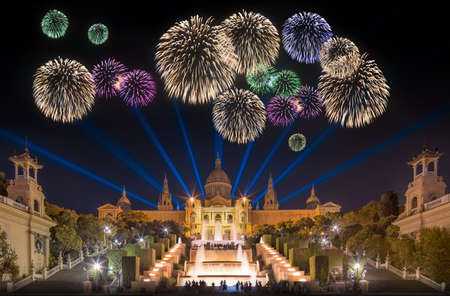 Beautiful fireworks under Magic Fountain light show in Barcelona, Spain