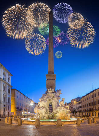 fiesta popular: Fountain of the Four Rivers in Piazza Navona at night, Rome, ItalyRome