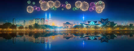city panorama: Beautiful fireworks above cityscape of Kuala Lumpur skyline at night, Malaysia Stock Photo