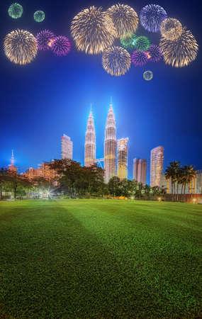 titiwangsa: Beautiful fireworks above cityscape of Kuala Lumpur skyline at night, Malaysia Stock Photo