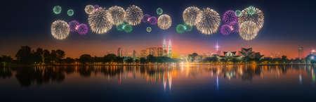 kuala lumpur: Beautiful fireworks above cityscape of Kuala Lumpur skyline at night, Malaysia Stock Photo