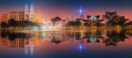 Beautiful cityscape of Kuala Lumpur skyline at night, Malaysia