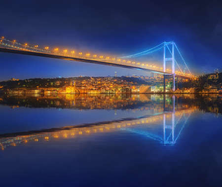 bosporus: View of Bosphorus bridge at night Istanbul, Turkey