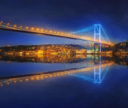 fiesta popular: View of Bosphorus bridge at night Istanbul, Turkey