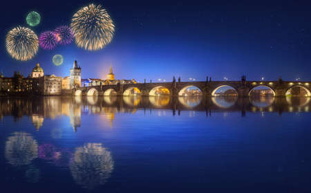 fiesta popular: Charles Bridge and beautiful fireworks in Prague at night, Czech Republic Stock Photo