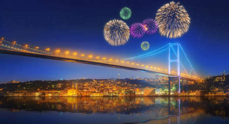fiesta popular: Beautiful fireworks and cityscape with Galata Tower, Golden Horn and ferry wirh beautiful fireworks in Istanbul, Turkey