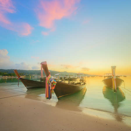 beautiful beach with river and colorful sky at sunrise or sunset, Thailand