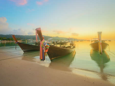 vacaton: beautiful beach with river and colorful sky at sunrise or sunset, Thailand