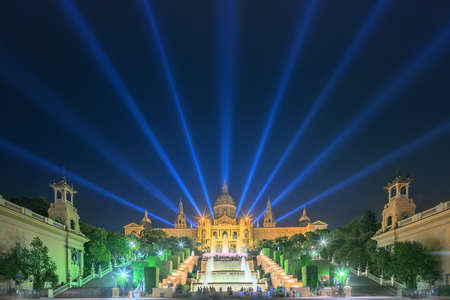 light show: Night view of Magic Fountain light show in Barcelona, Spain
