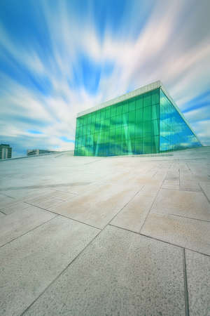 opera house: Oslo Opera House in Norway with blue sky Stock Photo