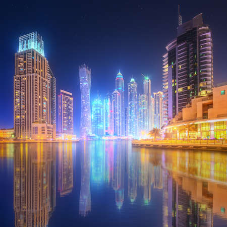 skyscraper sky: The beauty panorama of skyscrapers in Dubai Marina. UAE