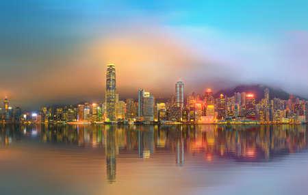 hong kong city: Panorama of Hong Kong island, skyline and Financial district, China