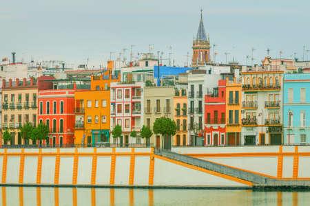 sevilla: Seville panoramic cityscape with historical buildings, city skyline, Sevilla, Spain.