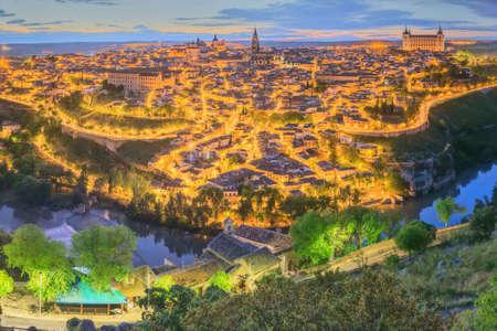 mancha: Night view of Toledo cityscape and Tagus River from the hill, Castilla la Mancha, Spain.