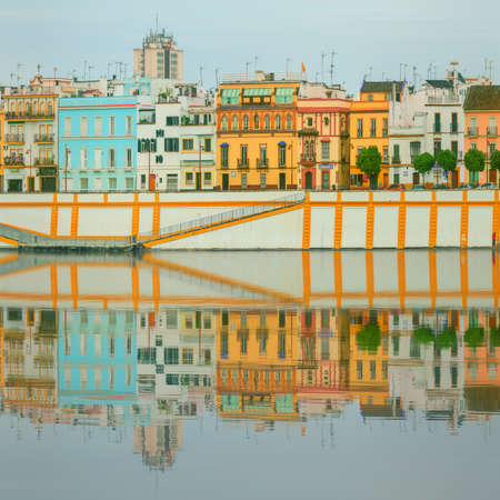 sevilla: Seville panoramic cityscape with historical buildings, city skyline Sevilla, Spain.