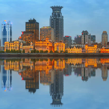 huangpu: Skyline of The Bund, marvellous historical buildings and Huangpu River on sunset, Shanghai, China.