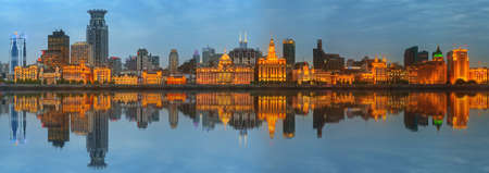marvellous: Skyline of The Bund, marvellous historical buildings and Huangpu River on sunset, Shanghai, China.
