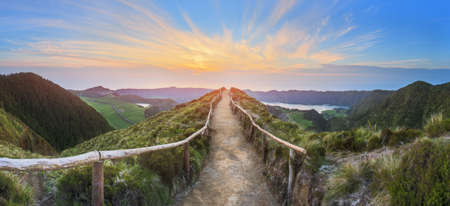 Mountain landscape with hiking trail and view of beautiful lakes, Ponta Delgada, Sao Miguel Island, Azores, Portugal. Stock fotó - 63860257